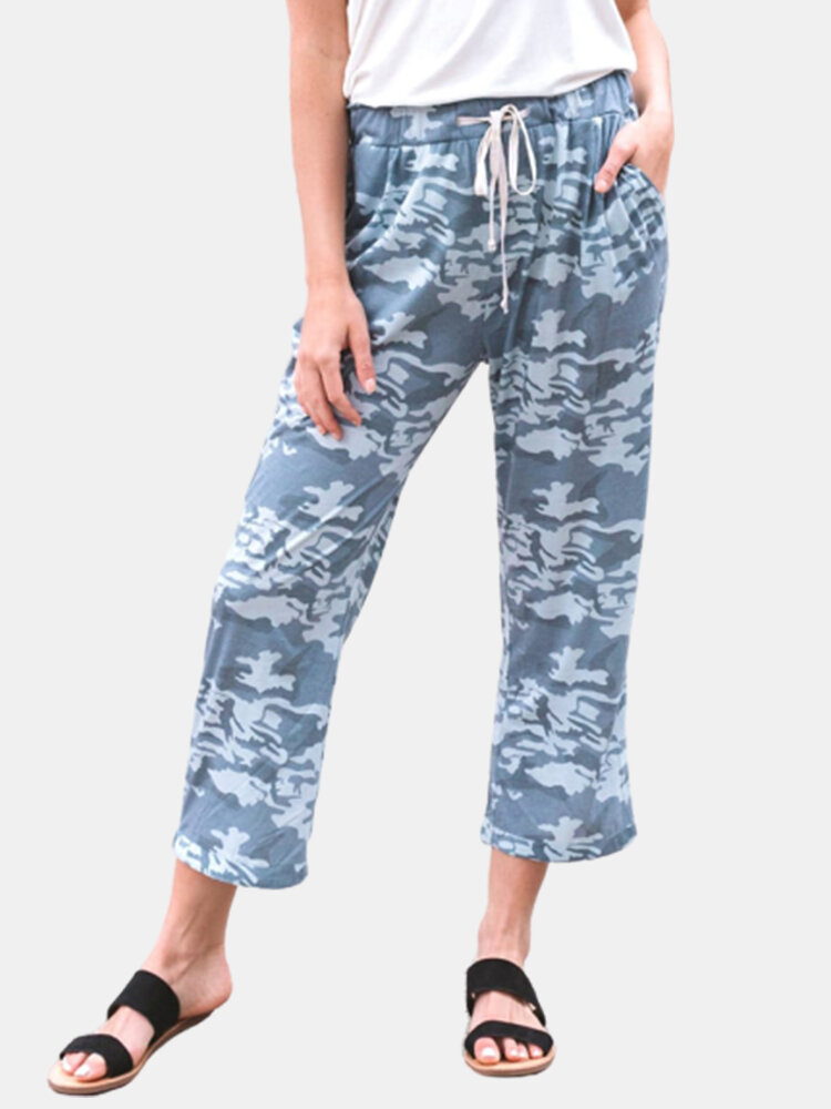 Camouflage Printed Elastic Waist Side Pockets Casual Pants