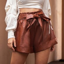 PU Leder Shorts mit Selbstguertel und Manschetten