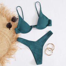 Bañador bikini de pierna alta con aro