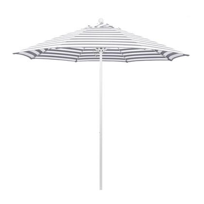 ALTO908170-F95 9 Venture Series Commercial Patio Umbrella With Matted White Aluminum Pole Fiberglass Ribs Pully Lift With Olefin Gray White Cabana