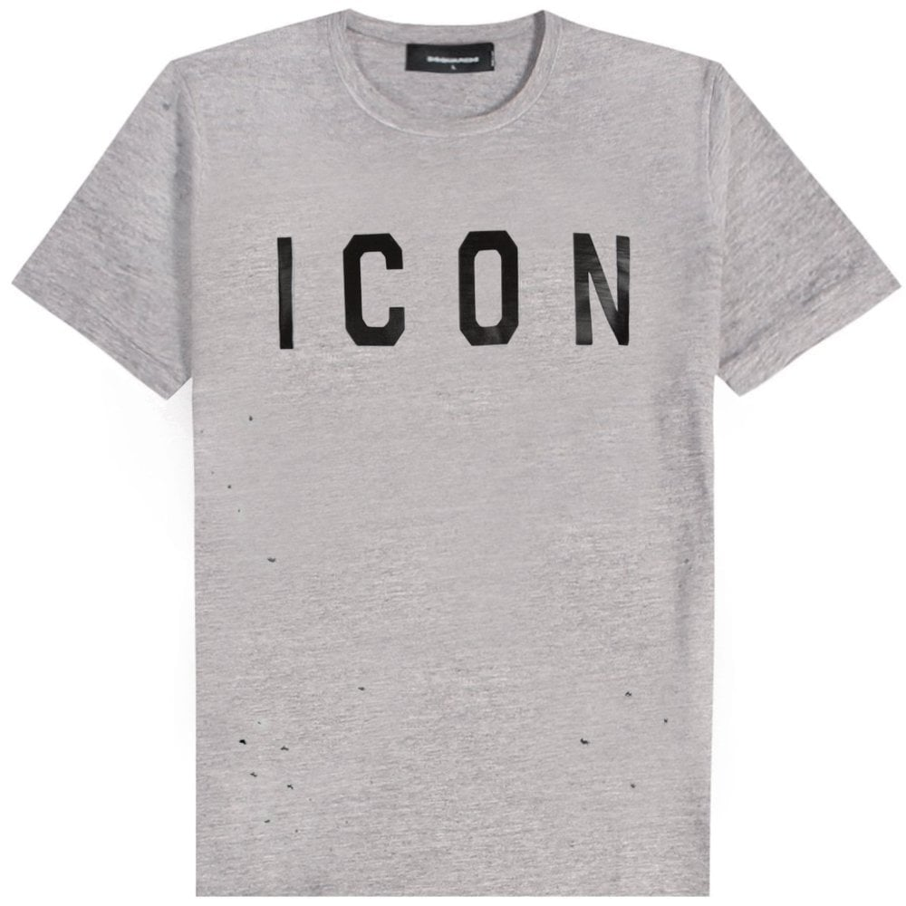 DSquared2 ICON Logo T-Shirt Colour: GREY, Size: EXTRA LARGE