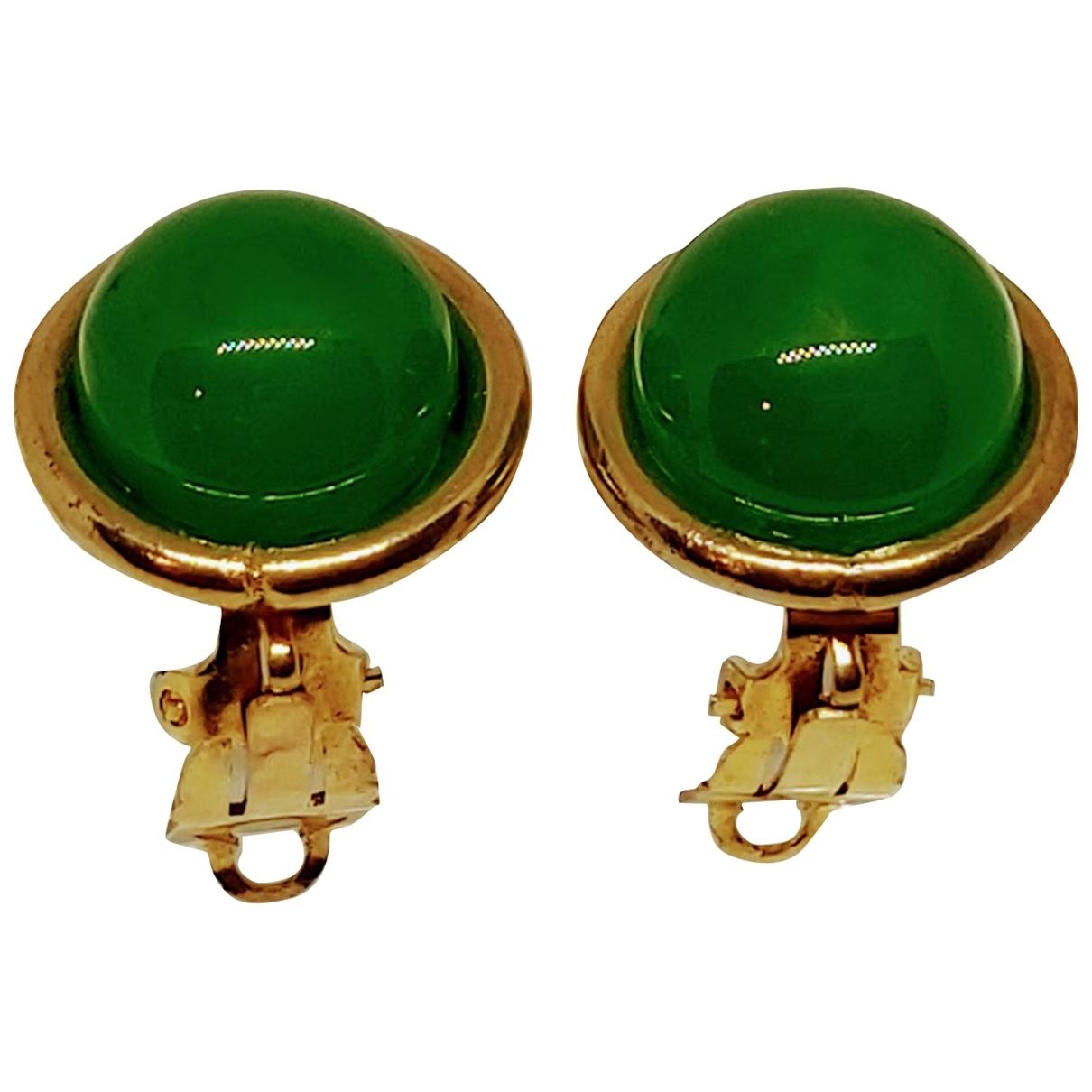 Chanel - Boucles doreilles CHANEL pour femme en metal - vert