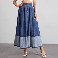 Wide Waistband Colorblock Denim Skirt