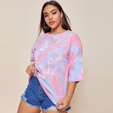 Verschiedenfarbig Batik  Laessig T-Shirts Grosse Grossen