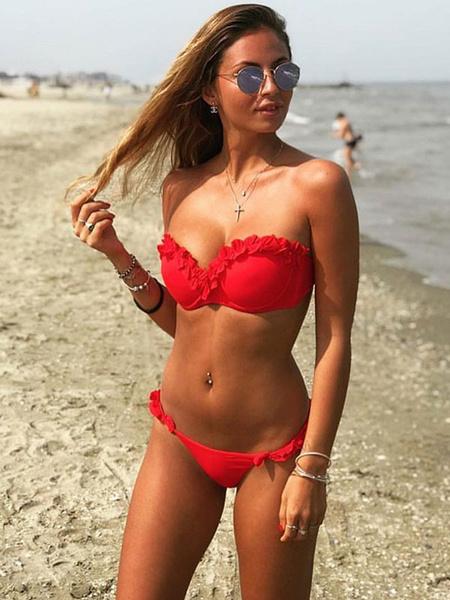 Milanoo Sexy Bikini Swimwear Strapless Ruffles Solid Color Push Up Bikini Swimsuit