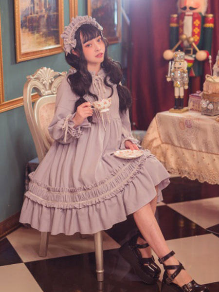 Milanoo Classic Lolita One Piece Dress Solid Color Long Sleeve Vintage Lolita One Piece Dress