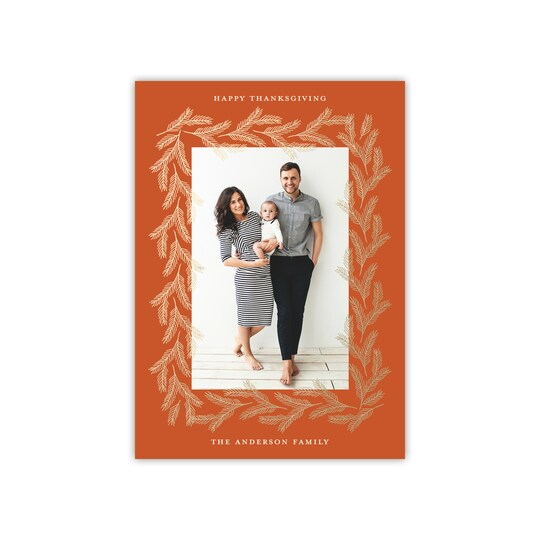20 Pack of Gartner Studios® Personalized Wheat Frame Flat Foil Thanksgiving Photo Card in Pumpkin | 5