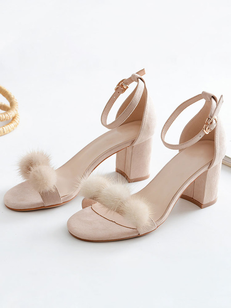 Milanoo Mid Heel Sandals Womens Pom-pom Chunky Heels Open Toe Ankle Strap Block Heel Sandals