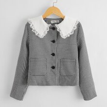 Girls Lace Trim Peter Pan Collar Houndstooth Jacket