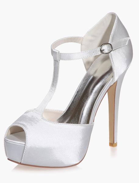 Milanoo Zapatos de novia de saten Zapatos de Fiesta de tacon de stiletto Zapatos marfil  Zapatos de boda de punter Peep Toe 12.5cm 3cm