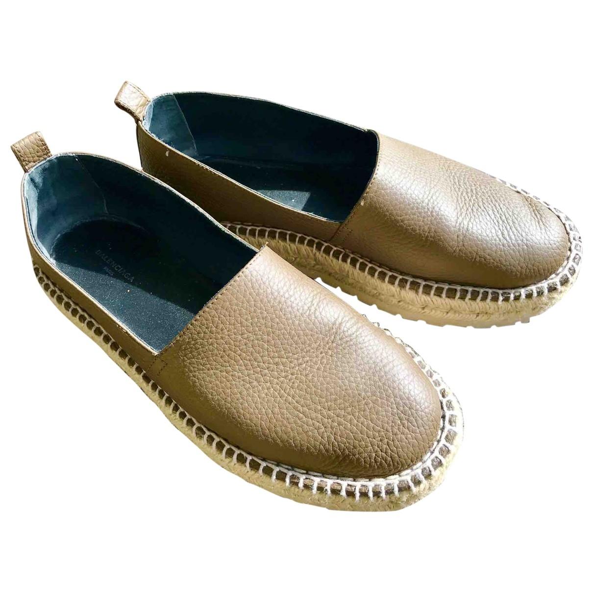 Balenciaga - Espadrilles   pour femme en cuir - kaki