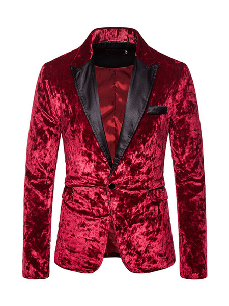 Milanoo Velour Blazers Jackets Patchwork Casual Suits For Men
