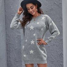 Star Pattern Drop Shoulder Sweater Dress