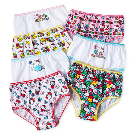 Little Girls 7 Pack Hello Kitty Brief Panty, 4 , No Color Family