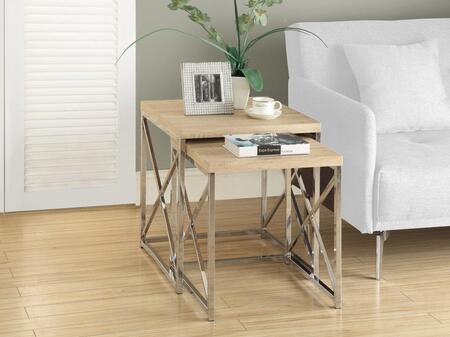 I 3205 Nesting Table - 2pcs Set / Natural with Chrome