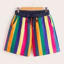 Rainbow Striped Drawstring Shorts