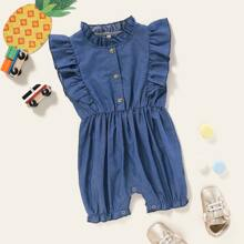 Baby Girl Ruffle Frill Button Front Denim Jumpsuit