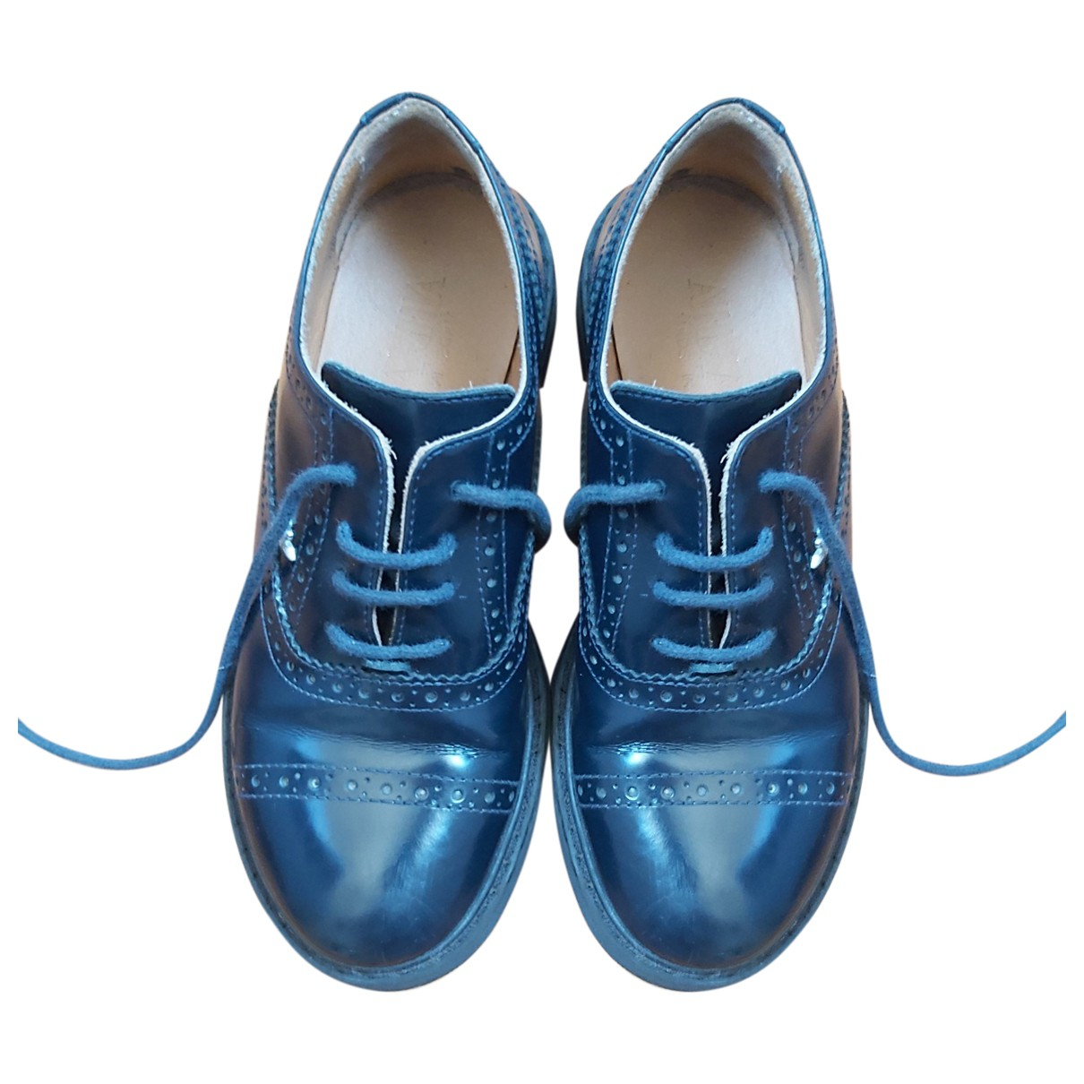 Armani Baby \N Blue Leather Lace up boots for Kids 31 FR