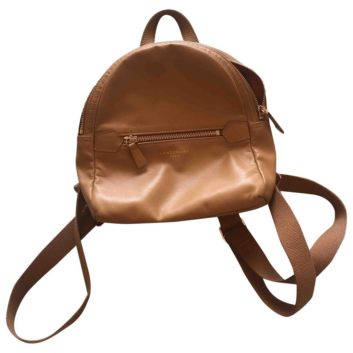 Longchamp - Sac a dos   pour femme en cuir - camel