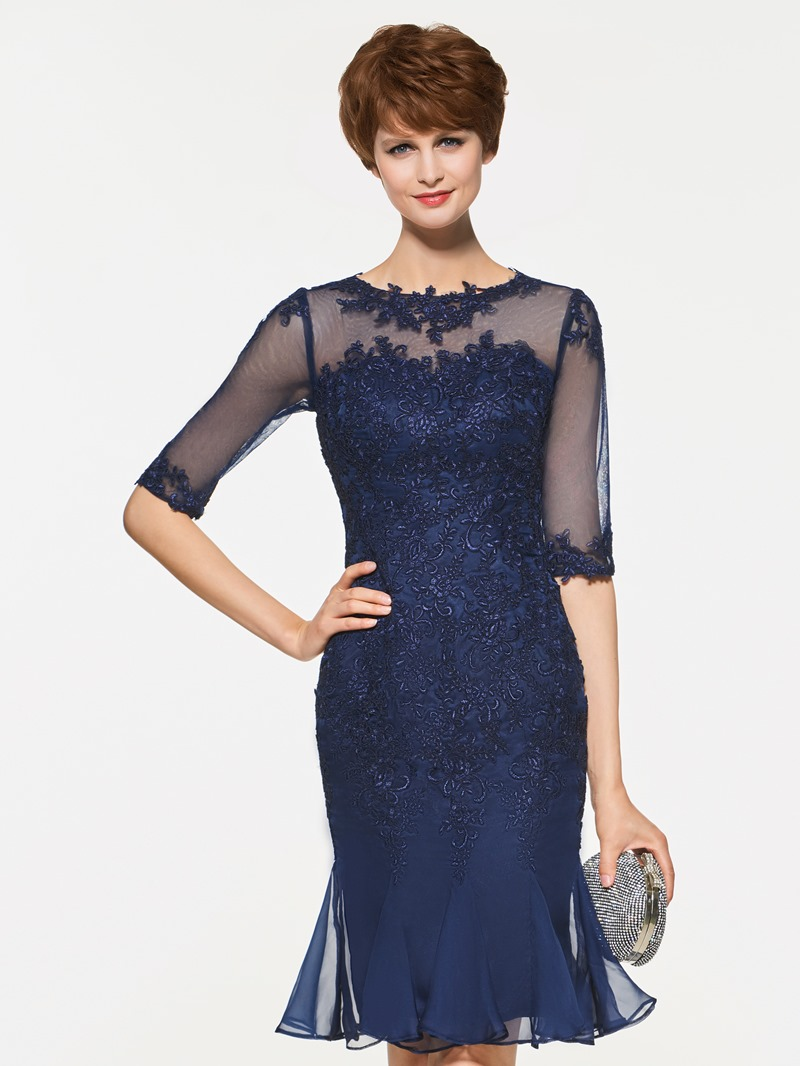 Ericdress Appliques Half Sleeves Sheath Knee Length Mother Of The Bride Dress