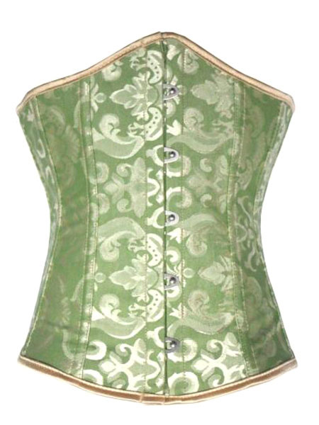 Milanoo Green Vintage Print Lace Up Polyester Corsets for Women