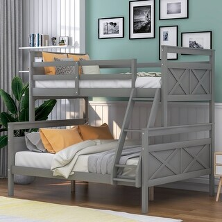 Twin Over Full Bunk Bed with Ladder, Safety Guardrail for Kids Bedroom (Grey)