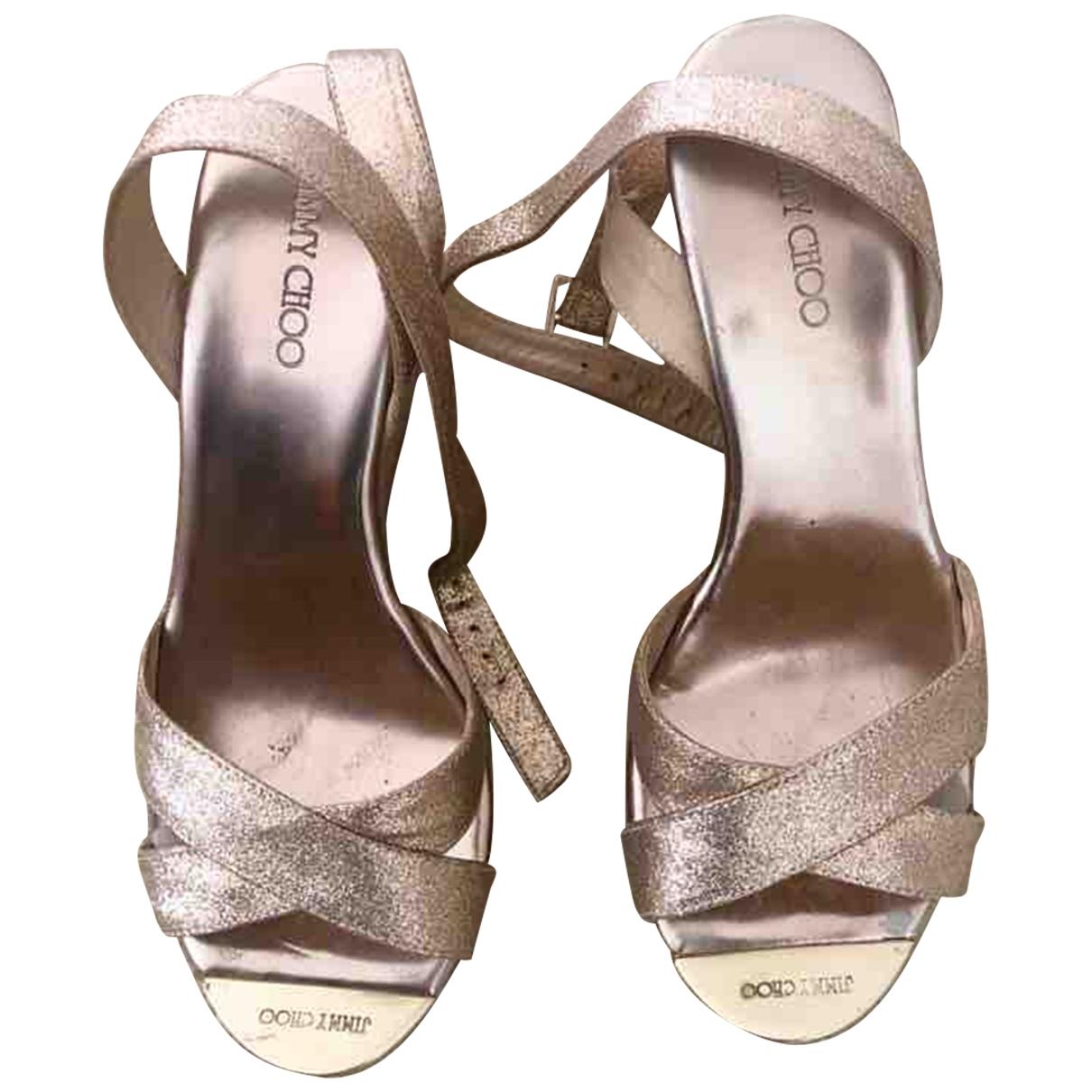 Jimmy Choo \N Beige Patent leather Sandals for Women 38 EU