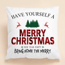 Weihnachten Kissenbezug mit Buchstaben Grafik ohne Fuelle