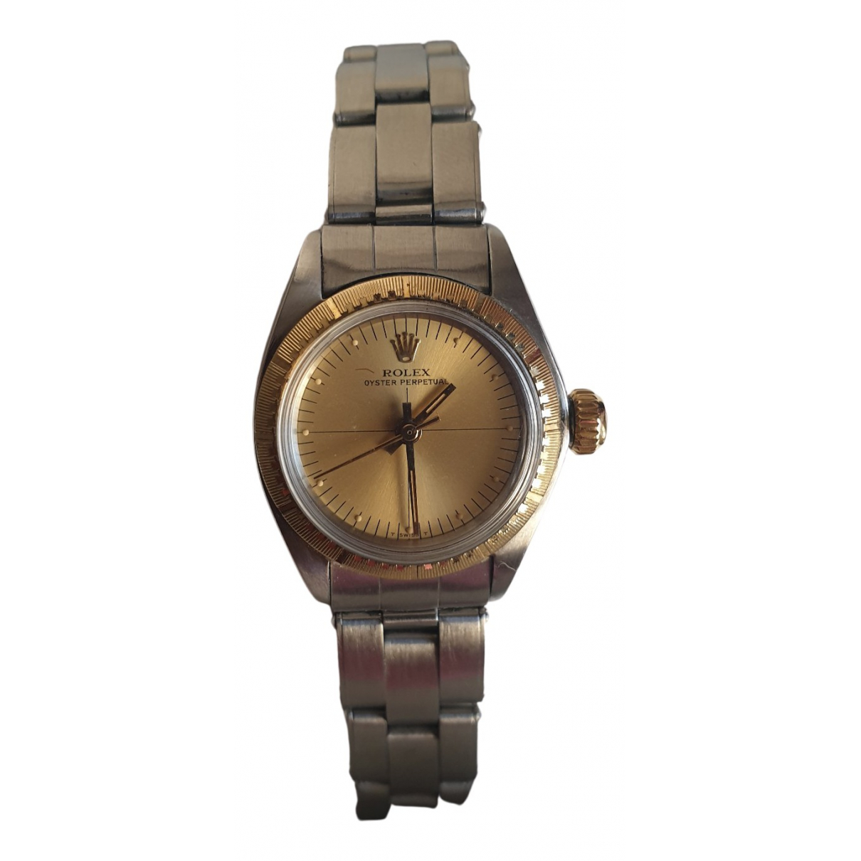 Rolex Lady Oyster Perpetual 24mm Silver gold and steel watch for Women N