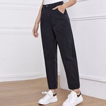 High-Waisted Slant Pocket Straight Jeans