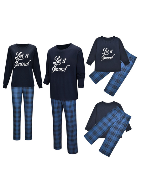 Milanoo Christmas Matching Family Pajamas Navy Blue Cotton Blend Color Block Christmas Pattern Top Plaid Pants Set