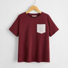 Boys Map Pocket Patched Tee