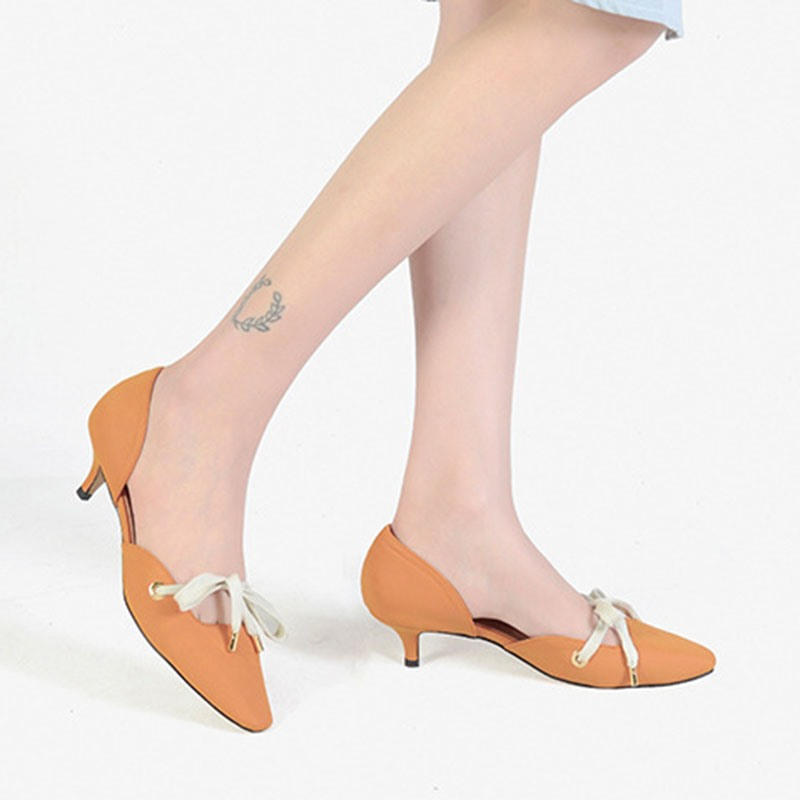 Ericdress Lace-Up Stiletto Heel Square Toe Plain Thin Shoes