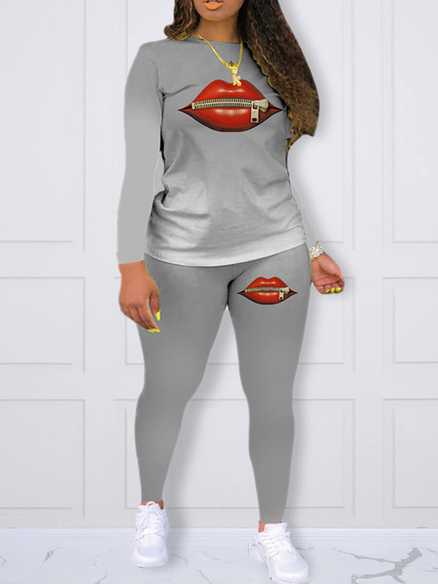 LW Lovely Sportswear O Neck Lip Print Grey Plus Size Two-piece Pants Set
