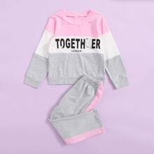 Toddler Girls Cartoon And Letter Graphic Colorblock Pajama Set