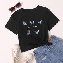 Camiseta de cuello redondo con estampado de letra y mariposa