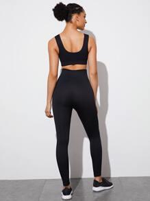 Solid Sports Bra & Wide Waistband Sports Leggings