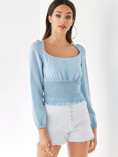 YOINS Light Blue Chiffon Backless Square Neck Long Sleeves Blouse