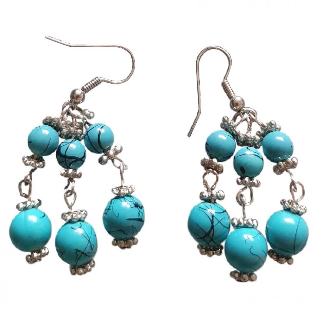 - Boucles doreilles Turquoises pour femme en plaque argent - turquoise