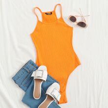 Rib-knit Slip Bodysuit