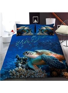 Sea Turtles In The Deep Sea 3D Printed Polyester 1-Piece Warm Quilt
