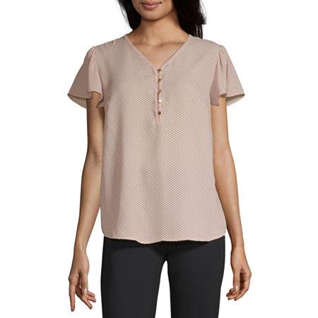 Liz Claiborne Womens V Neck Short Sleeve Blouse, Xx-large , Pink