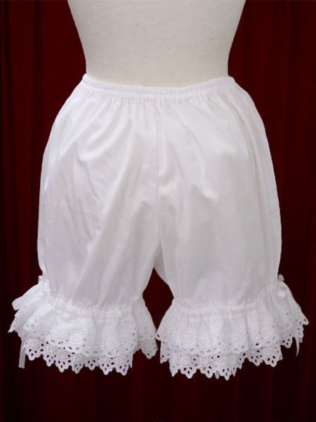 Milanoo White Cotton Lolita Bloomers Hollow Trim Bow Ribbon