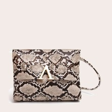 Tasche mit V Ausschnitt und Schlangenleder Muster