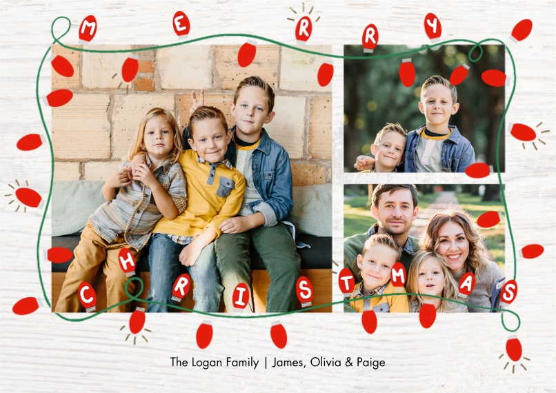 Christmas Photo Cards 5x7 Cards, Premium Cardstock 120lb with Scalloped Corners, Card & Stationery -Christmas Festive Colorful Lights by Tumbalina