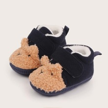 Baby Boy Cartoon Design Velcro Strap Flats