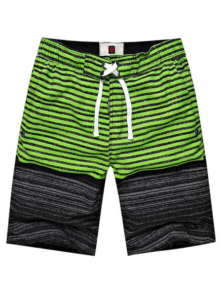 Milanoo Striped Swim Shorts Men's Drawstring Waist Color Block Summer Beach Swim Trunks