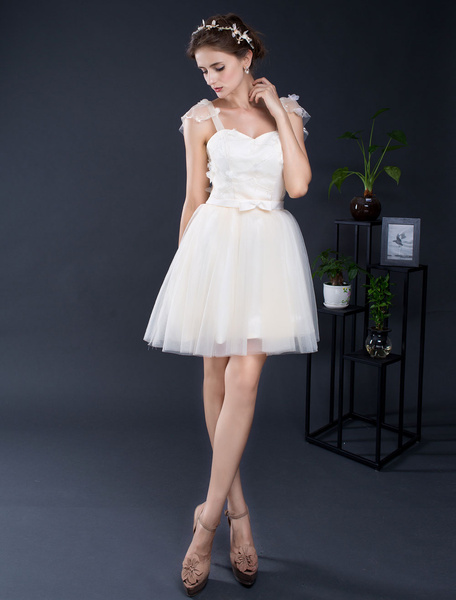 Milanoo Lace Wedding Dress Short Tulle Straps Sweetheart Mini Bridal Dress A-line Ruffle Sleeves Homecoming Dress