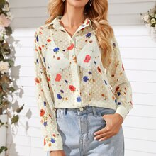 Floral Print Button Up Sheer Blouse