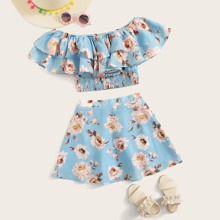Conjunto de niñas top de hombros descubiertos con estampado floral fruncido ribete con volante con falda